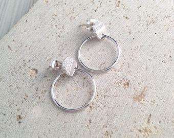 Silver Hoop Earring,Small Hoop Earring,Double Circle Earring,Circle Drop Earring,Small Hoop Stud Earring,Cubic Hoop Earring
