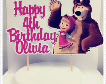 Masha and the Bear--Inexpensive Personalized Cake Toppers with Name & Character--Kid's Birthday Party Decorations