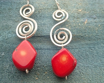 Red Coral root dangling silver earrings