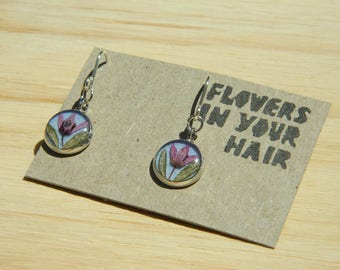 Round earrings with Real Australian Native Pink Flowers, Real flower jewellery, Botanical earrings, Gift for her, Pressed flowers jewelry