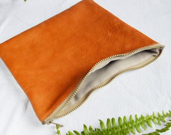 Leather zipper pouch - orange and white leather purse - small leather bag - clutch bag