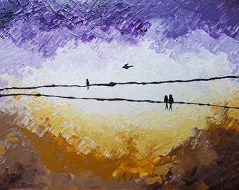 "11x14"" Birds on wire Art, Abstract Acrylic Painting, Palette Knives, Impasto, Textured Painting, Purple Artwork"
