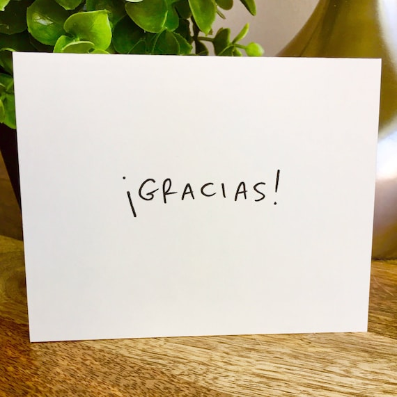 Set of 10 cards, Gracias Card, thank you card set unique style, simple thank you card, handlettered stationery, Hand lettered card