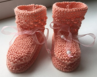 EUR Size 18 / US 2.5 / UK 1.5 / Handknitted Warm Wool SlipperSocks, Booties, Lace Knit, Pink