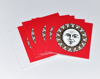6 Rare Vintage Piero Fornasetti Sole II Red Gold Unused Christmas Cards with Envelops, circa 1994