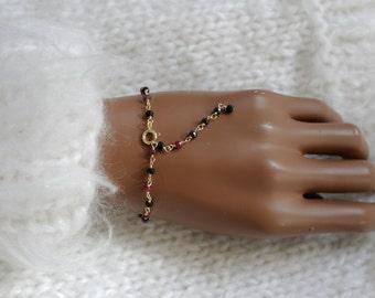 Ruby black spinel bracelet gold plated