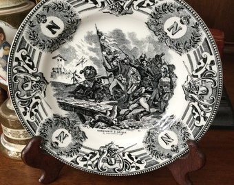 Vintage Black and White Napoleon Transfer Ware Plate
