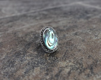 Abalone and Sterling Silver Ring Size 7