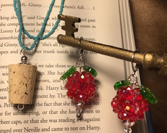 Combo Trunk - Dirigible Plum Earrings **Red Iridescent Color** and Luna Lovegood inspired Cork Necklace