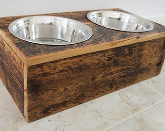 Rustic Dog Bowl Holder, Reclaimed Wood Dog Feeder, Raised Dog Feeder