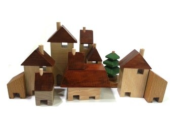 Village in the Woods, city building blocks, wooden houses