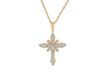 0.50 Carat Diamond Cross Pendant 14K Yellow Gold