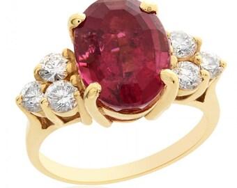 4.75 Carat Pink Tourmaline with 0.75 Carat Diamond Ring 14K Yellow Gold