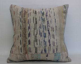 Anatolian Turkish Kilim Pillow Floor Pillow 20x20 Decoarative Turkish Cushion Cover Throw Pillow Sofa Pillow Bed Pillow SP5050-1080