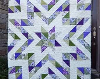 Modern Lap Quilt, Star Quilt, Purple and Green Quilt, Handmade Quilt, Floral Quilt, Ready to Ship, Blanket