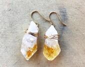 raw citrine earrings