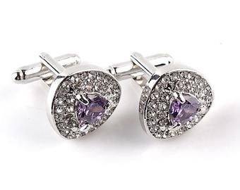 Stunning Amethyst and Diamond looking Cuff link-B29