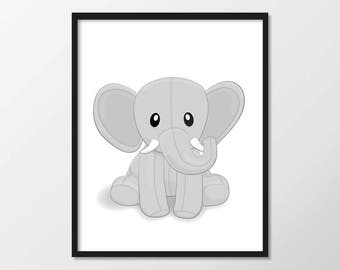 Elephant Nursery Print, Animal Nursery Print, Kids Wall Art Print, Safari Nursery Wall Art, Printable Kids Art, Gray Elephant, Kids Print