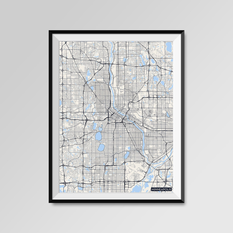 Minneapolis map print minimal wall art office home decor for Minimal art wall