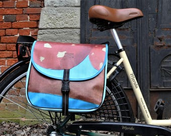 Handmade, recycled bicycle luggage, rack bag