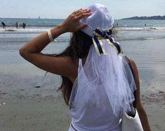 Bride Sailor Hat - Bachlorette Party - Veil - Custom