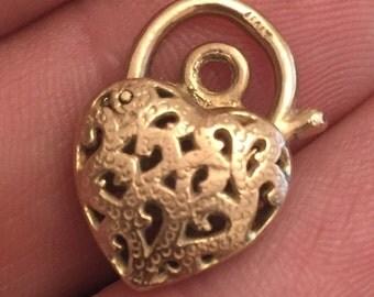 Vintage 9ct gold padlock for charm bracelet
