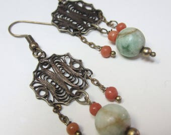 Antique Chinese filigree & jade/coral beads earrings