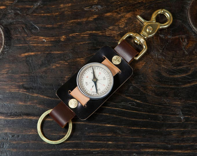Vintage Japanese Compass Keychain Solid Brass Scissor Snap and Rivets, Black Shell Cordovan, Natural Vegtan and OxBlood Leather Made in USA