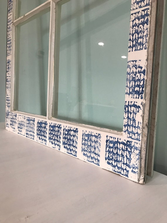 Custom Painted Window Pane / Frame / Vintage / Old / Decor / Rustic Bohemian / Wall Art / Decorative / Hand Printed / Salvaged / Upcycled