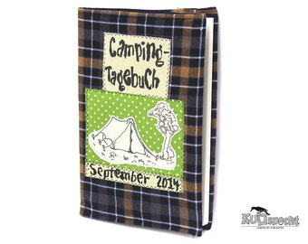 Gift Scouts, campingdiary, diary tent, camping checkered fabric, Retro album Nostalgia Gift Nature campingdays, camping-site with tree