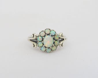 Vintage Sterling Silver White Opal Cluster Ring Size 10