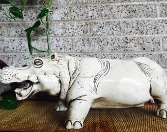 Vintage Ceramic Large Hippo Statue - Boho Decor