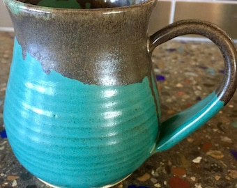 Pottery handmade turquoise mug coffee tea ceramic
