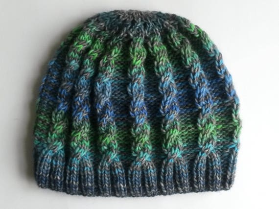 Knit Cable Beanie: soft & lightweight wool mix hat. Made in Ireland. Original Aran design. Gorgeous mix of blue, green and grey. Cable Hat.