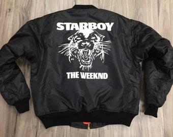 The Weeknd Starboy MA-1 Black  Bomber jacket ,star boy,the weekend,xo,feel like pablo,kanye west (white-print)