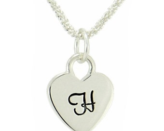 Heart Initial Necklace Sterling Silver Custom Letter Personalized Monogram Pendant Popcorn Chain