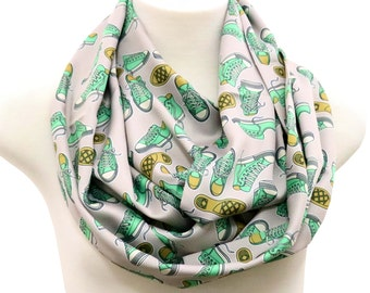 Converse Scarf sneakers infinity scarf  shoes loop all star Scarf Chuck Taylor birthday Gift for her anniversary gift Gray hipster hippie