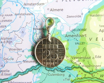 Netherlands quarter coin charm in birth year 1982 - 1983 - 1984 - 1985 - 1986 - 1987 - 1988 - 1989
