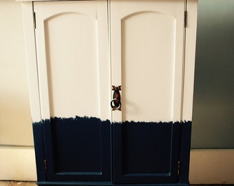 SOLD * Vintage cabinet painted navy and white with a pop of red inside, bathroom storage, drinks cabinet, shelf, cupboard
