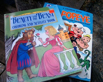 2 Vintage Coloring Books Beauty And The Beast Coloring And Activities Book Vintage 1991 & 1982 Popeye Coloring Book 2 Coloring Books