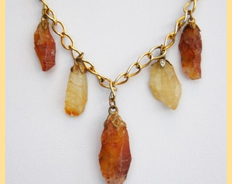 BROWN QUARTZ CRYSTAL - 7 Pendant Necklace, With Brass Chain