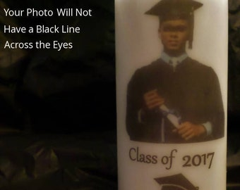 """Personalized  6"""" by 3"""" White Pillar Photo Candle Made to Order Using Your Photo Image and Any Words that You Like."""