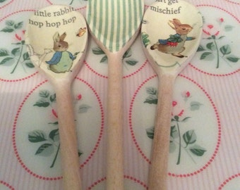 "Beatrix Potter ""Peter Rabbit"" Set of 3 Decoupaged Wooden Spoons"