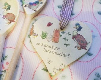 Beatrix Potter Themed Jemima Puddleduck Hanging Wooden Heart