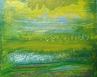 "Table painting acrylic / original work / Art contamporain / ""landscape abstract yellow and green"""