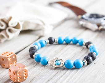 8mm - Turquoise and silver plated hematite beaded silver Hamsa hands stretchy bracelet, made to order yoga bracelet