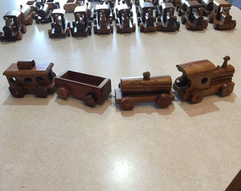 Toy wooden trains