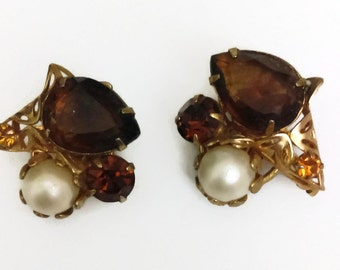 Vintage Amber Clip On Earrings  60's Faux Pearls and Amber