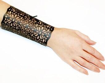 Leather bracelet on a lacing, wide leather bracelet, Leather Bracelet cuff, Leather Cuff, Ladies Leather Bracelets