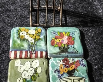 Kellie Montana  4 Coasters and Caddy   PreOwned --Well Cared for......